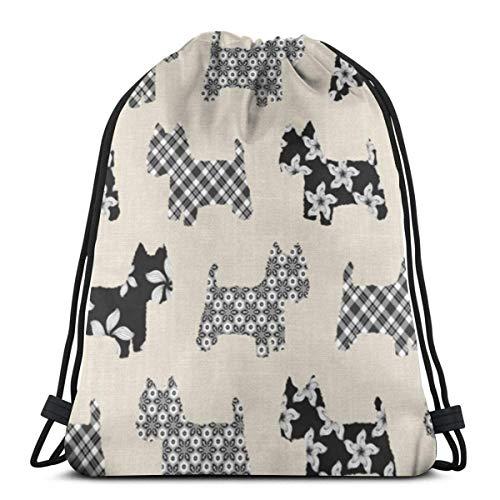 asdew987 Mochila con cordón y diseño de perro Terrier, unisex, ligera, para gimnasio, con cuerdas, bolsa de almacenamiento