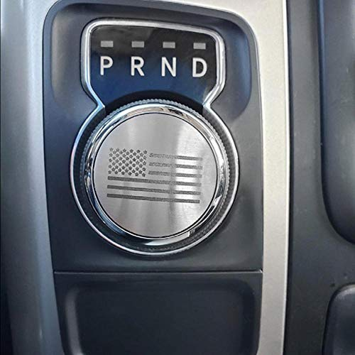 Dial Shifter Trim Plates Etched Brushed Stainless - Fits Chrysler 300/200/Pacifica & Voyager, Dodge Ram 1500, Rebel & RAM 2500, Dodge Durango | Etched American Flag Style