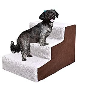 JAXPETY Animals Favorite Pet Stairs, 3 Steps Ramp Ladder for Dogs, Portable, Ladder with Cover Indoor White & Coffee