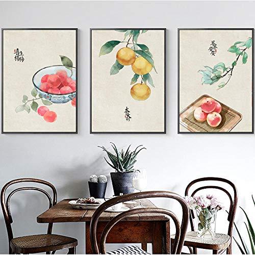 LNMHV Frutas Verduras Lienzo Pintura Chino Festival de la Cosecha Arte de la Pared impresión proter Moderno para la Sala de Estar decoración de la Pared del hogar imagen-40x60cm x3 Sin Marco