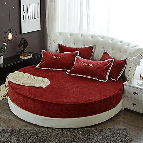 CYYyang Protector de colchón/Cubre colchón Acolchado, Ajustable y antiácaros. Falda de Cama Redonda de Felpa-Rojo Vino_2m