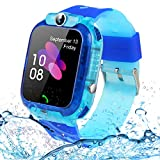 SZBXD Kids Waterproof Smart Watch Phone, LBS/GPS Tracker Touchscreen Smartwatch Games SOS Alarm Clock Camera Smart Watch Christmas Birthday Gifts for School Boy Girls (Light Blue)