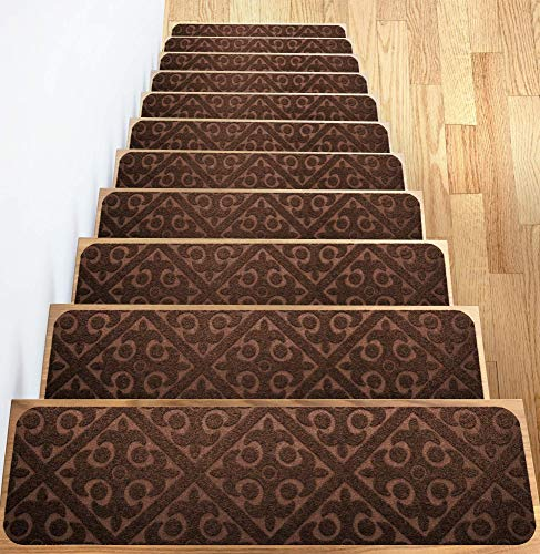 "Elogio Carpet Stair Treads Set of 13 Non Slip Skid Rubber Runner Mats Rug Tread Indoor Outdoor Pet Dog Stair Treads Pads Stairway Carpet Rugs Brown 8"" x 30"""