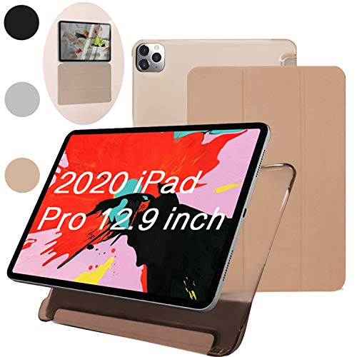 Hiegoo iPad Pro Hülle 11/12,9 Zoll, dünn, leicht, dreifach faltbar, Smart Shell [Apple Pencil Aufladung unterstützt] Auto Sleep/Wake (2020) 32,8 cm (12,9 Zoll) Champagner
