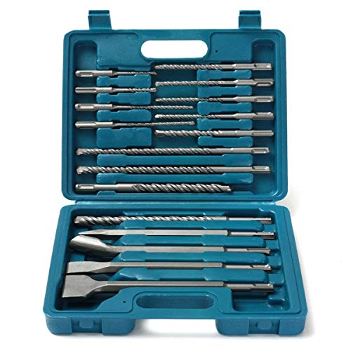 Tweezer Set Drill Bits Chisel SDS Plus Rotary Hammer Bits Set for Bosch Hilti Plus 17 in 1