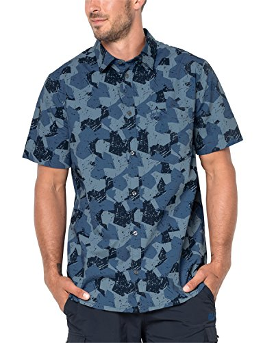 Jack Wolfskin Men's Hot Chili Marble Shirt Short Sleeve, Medium, Ocean Wave All Over