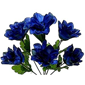Navy Blue Dahlia Artificial Flowers Greenery Home Garden Holiday Decor