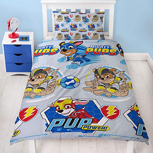 Character World Official Paw Patrol Super Pups Design Single Reversible Two Sided Official Bedding Duvet Cover with Matching Pillow Case
