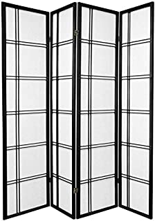 Oriental Furniture 6 ft. Tall Double Cross Shoji Screen - Black - 4 Panels