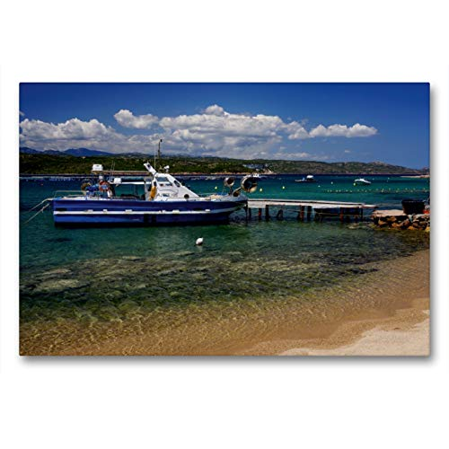 CALVENDO Lienzo Premium de 90 x 60 cm, Formato Transversal Golfe de Santa Manza, Córcega en el sudeste de Imagen de Alta definición sobre Bastidor, Listo para Lienzo Silke Liedtke