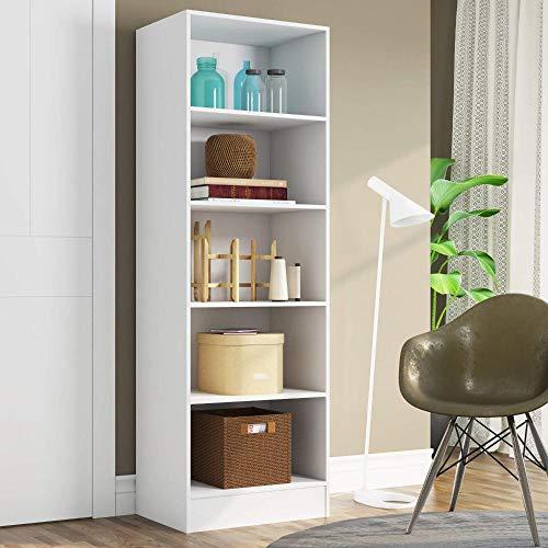 Estante para Livros 5 Prateleiras Charge Espresso Móveis Branco