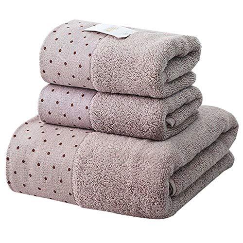 Toallas de baño de Toalla de Gimnasia, Toalla de algodón de Microfibra, Toalla súper Absorbente, Adecuada para Cubierta de Toalla de baño Familiar (Color : Light Brown, Size : 3pcs)