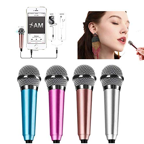Mini microphone portable vocal/instrument microphone for mobile phone laptop notebook apple iphone sumsung android with holder clip tiny microphone- rose gold