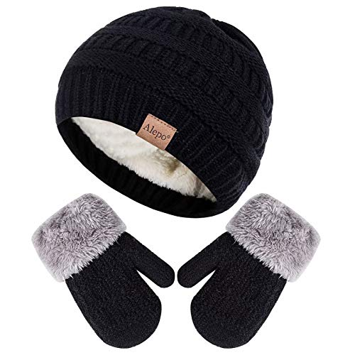 Knit Thick Warm Fleece Lined Thermal Set for Boy Girl Winter Mittens Gloves Beanie Hat Set for Kids Baby Toddler Children