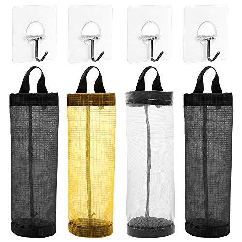 AFUNTA 4 bolsas de plástico para el hogar, plegable, transpirable, para colgar bolsas de basura organizadoras con 4 ganchos para el hogar y la cocina, color negro/amarillo/gris