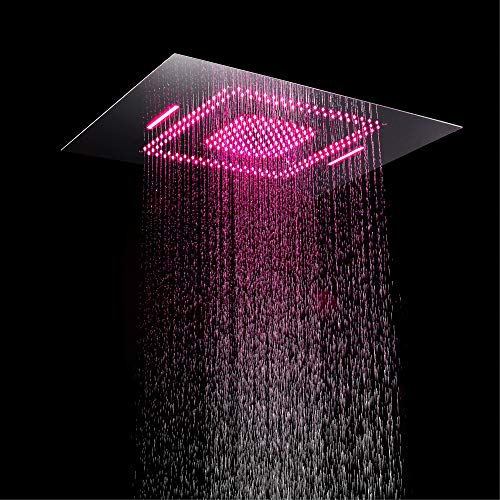 Best Deals! YUXIANG 23.6'' X 31.5'' LED Rain Shower Head, Chrome Finish Eco-Friendly Stainless Steel...