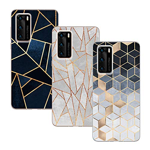KZIOACSH Huawei P40 Case 3 Pack Ultra Thin Silicone TPU Soft Cover for Huawei P40 Plaid Set