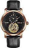 QHG Hombres Miran los Relojes Masculinos creativos Boyfriend Style Wristwatch Luxury Leather Band Watch Relojes mecánicos automáticos (Color : BlackGold)