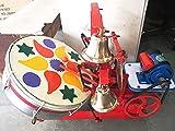 gurukrupa musicals electric aarti machine 20 inch drum with 4 bells- Multi color