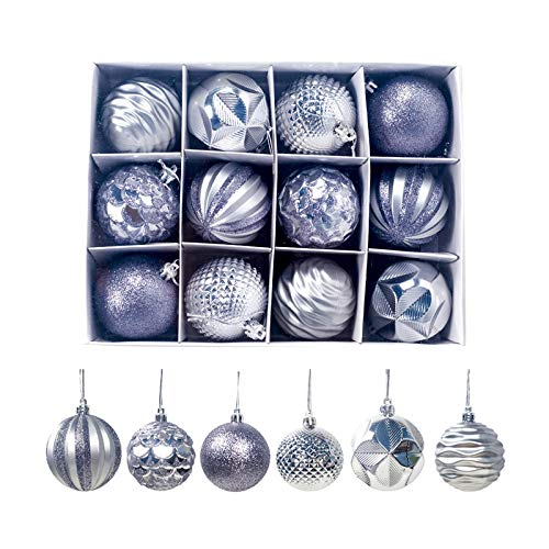 Donpow Bolas de Navidad, 12 Piezas de Bolas de rbol de Navidad, Adornos navideos, Bolas Decorativas para Colgar en el rbol de Navidad, Adornos de decoracin (Plata)