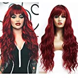 ANDRIA Ombre Wine Red Wigs Natural Wave Wig with Bangs Burgundy Synthetic Wig Dark Roots Brown Wig Synthetic Long Wavy Loose Curly Wig Heat Resistant Fiber 24 Inches Cosplay Party Wigs for Women