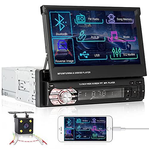 Camecho Autoradio Auto 7 Pollici Autoradio Bluetooth Touchscreen Single Din Auto Radio con GPS Navigazione/Bluetooth/FM Radio/USB, Supporta Mirror Link + Backup Macchine Fotografiche