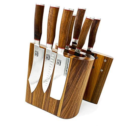 Zayiko exklusiver hochwertiger Design Messerblock Messerbrett ohne Messer für bis zu 10 Kochmesser unterschiedlicher Größe I Italienisches Design aus massivem Nussbaum mit starken Magneten