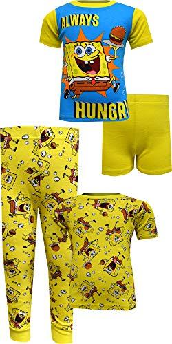 AME Sleepwear Boys' Spongebob Squarepants Always Hungry Cotton 4 Piece Pajamas (10) Bright Yellow