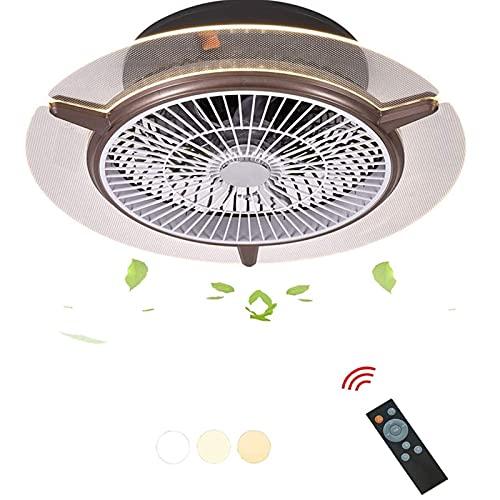WERCHW Ventilador de Techo con luz, LED Control Remoto LED Modos de iluminación Totalmente Regulables Invisible Acrílicos Cáscara Semi Semi Flush Mount Bajo Perfil Ventilador 22 Pulgadas (Color : B)