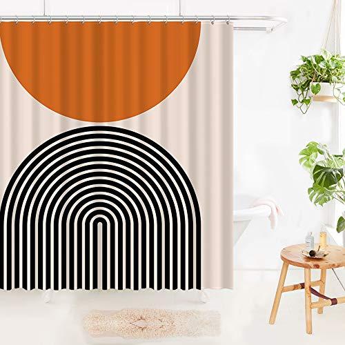 Hicksville Mid Century Modern Shower Curtain Sun Rainbow Bathroom Curtains Neutral Minimalist Bathtub Curtain 72 x 72 inches
