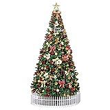180cm Iluminado Artificial Árbol De Navidad, Abeto con Bisagras Premium 180cm Árbol w/Luces LED & Adornos, 600 Tips, Fácil Montar, Decoración Navidad-Verde 6ft(180cm)