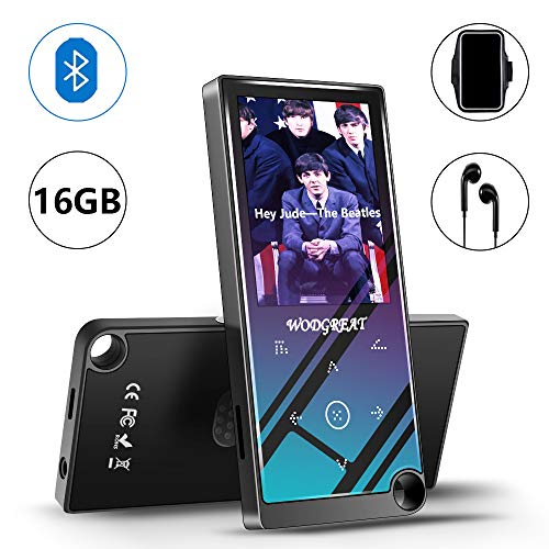 Wodgreat MP4 Player with Bluetooth 4.2 Portable 16 GB Hi-Fi Lossless Sound MP4/MP3 Music Player, Built-in Speaker, Expand to 128GB, Pedometer, 2.4' Screen Earphone Armband