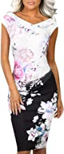 Ladysdress Women's Business Dresses V-Neck Slim Fit Multicolor Floral Printed Party Bodycon Vintage Midi Dress