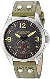 Stuhrling Original Tuskegee - Reloj de Cuarzo, para Hombre, con Correa de Cuero, Color Oliva