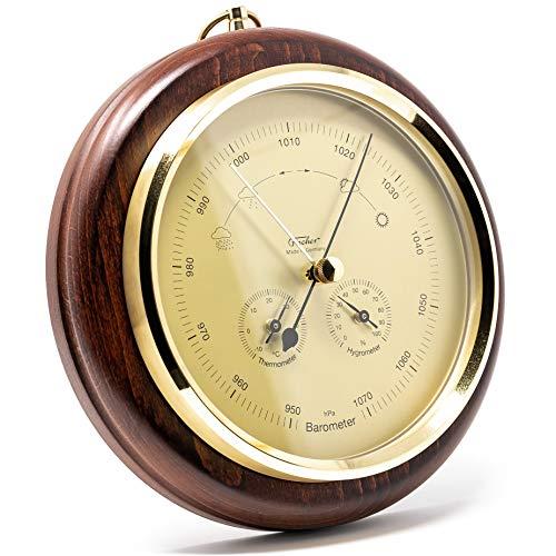 Fischer 1694R-22 - Außen u. Innen-Wetterstation mit Barometer, Thermometer, Hygrometer -Holzgehäuse Made in Germany