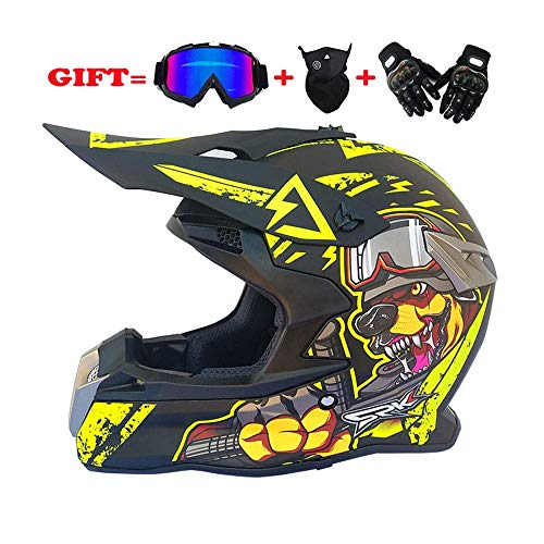 Helmet LWAJ Casco per Adulti Moto Crash Motorcycle D.O.T Caschi Crash certificati Full Face Racing Scooter con Lenti Nere per Uomo e Donna Biker Rider Safety Bike Sports