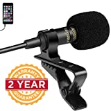 Enraciner Professional Grade Lavalier Lapel Microphone Omnidirectional Mic with Easy Clip-on System