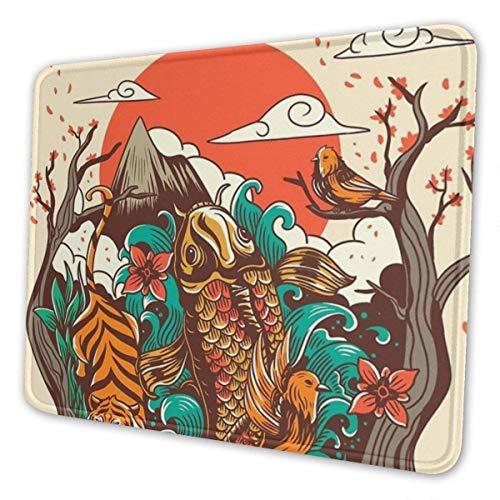 Mousepad Herbst Sonnenuntergang Koi Fisch Vogel Tiger Mousepad Spielmatte Gummi Schreibtisch Dekor Rechteck Laptop Rutschfeste Computer Bürozubehör 3 Größen Benutzerdefinierte Sch 25X30cm