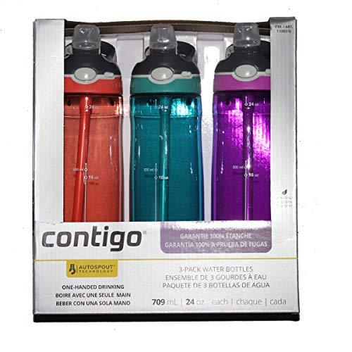 Contigo Autospout - Botellas de agua (709 ml, 3 unidades, sin BPA, con pajita, azul, naranja, morado)