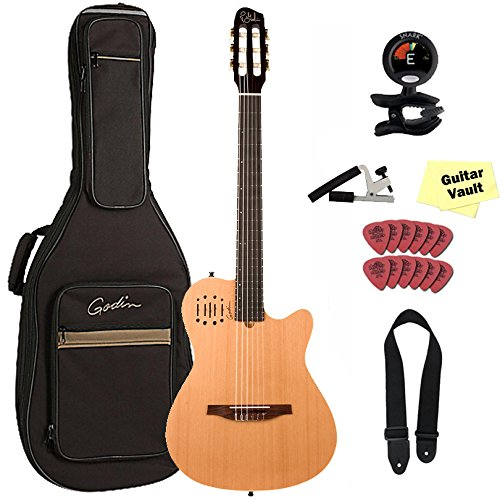 Godin Multiac Nylon Encore Acoustic Electric Classical Guitar with Gig Bag and Accessory Pack,