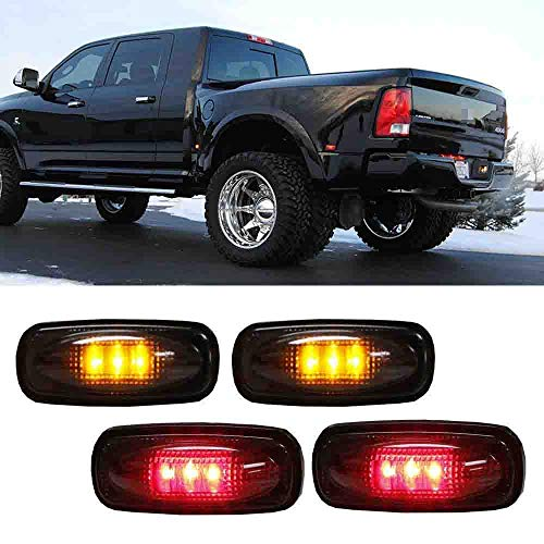iJDMTOY Smoked Lens Amber/Red LED Rear Bed Side Marker Lights Set Compatible With 2003-2009 Dodge RAM 2500 3500 Heavy Duty Dually Truck Double Wheel Side Fenders