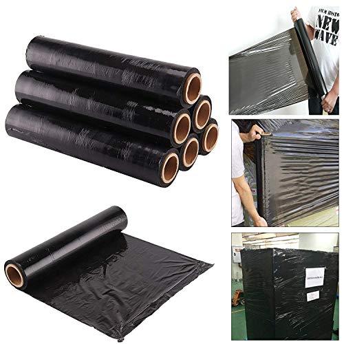 Rollos de film negro elástico para paquetes postales (400mm x 250m), negro, pack de 1
