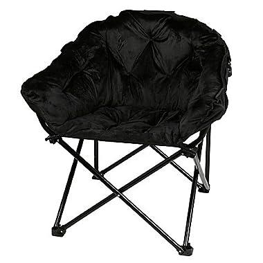 Folding Faux Fur Club Chair - Padded Seats (Black)