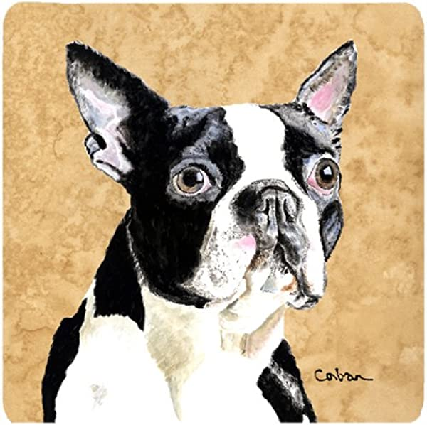 Caroline S Treasures SC9140FC Boston Terrier Foam Coasters Set Of 4 3 5 H X 3 5 W Multicolor