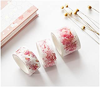 Washi Tape, Cherry Blossom Masking Tape Decorative Adhesive Tape Sticky Paper Tape for DIY, Decorative Craft, Gift Wrapping, Scrapbook, Nordic,
