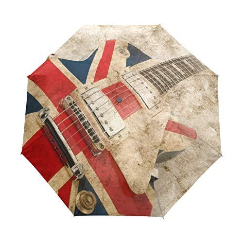 Kleiner Regenschirm Winddicht im Freien Regen Sonne UV Auto Compact 3-Fach Regenschirm Abdeckung - Flagge Musikinstrument Gitarre