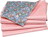 4 Pack - Washable Bed Pad Floral Print with Pink Vinyl/Standard Size Chux Chucks Incontinence Underpad - Mattress Protector (24 x 36)