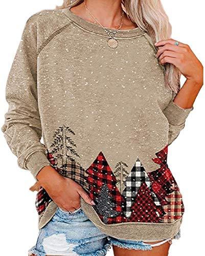 Skxusidhus Women's Print Raglan Sleeve Christmas Print O-Neck Tops Pullover Sweatshirt