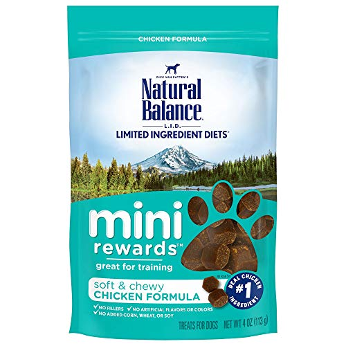 Natural Balance L.I.D. Limited Ingredient Diets Mini Rewards Dog Treats, Soft & Chewy Chicken Formula, 4 Ounce Pouch