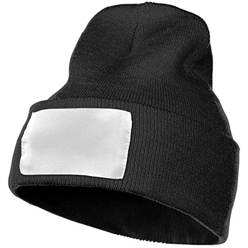 French Bulldog Yoga Hat Knit Cuff Winter Outdoor Hat Warm Stretchy & Soft Caps Men & Women Solid Color Black